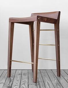 Lincoln Stool by Asher Israelow Studio — A leather sling sits on slender legs. Solid wood and brass rods compose this handcrafted stool. An elevated seat for counters and bars. I like the look, just not sure if the low backing would be comfortable