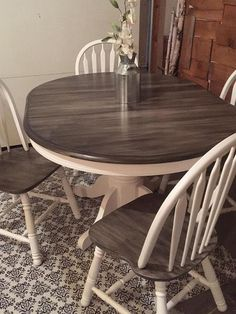 Snow White Milk Paint with Pitch Black Glaze Effect Dining Set | Glaze Furniture Rehab | DIY Paint Ideas For Your Old Furniture