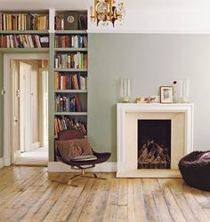 Modern Country Style: Case Study: Farrow and Ball Blue Gray Click through for details. Farrow And Ball Blue Gray, Blue Grey, Ash Grey, Gray Green, Olive Green, High Ceiling Decorating, Two Tone Walls, Modern Country Style, Built In Bookcase