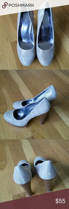 Calvin Klein Nude platform shoeas size 8.5 This shoes is ready for any outfit. Looks like snake skin soft and very comfy with wooden platform and heel. CHECK OUT THE HEEL STYLE...WOW!!!. Calvin Klein Shoes Platforms