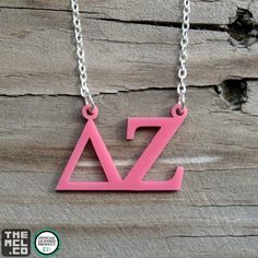 Delta Zeta Greek Licensed Floating Letters Necklace by TheMCL.co