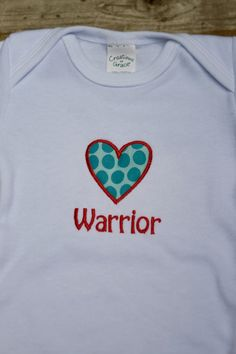 Heart Warrior CHD Awareness Onesie by ThrivingHearts on Etsy, $18.00