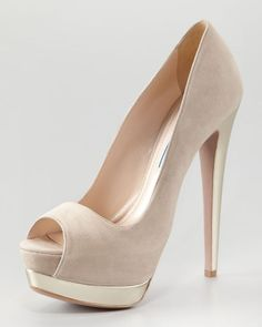 Suede Bicolor Pump, Sand/Silver by Prada at Neiman Marcus. 55 Insanely Cute Shoes Outfit Ideas Trending Now – Suede Bicolor Pump, Sand/Silver by Prada at Neiman Marcus. Pretty Shoes, Beautiful Shoes, Cute Shoes, Me Too Shoes, High Heels Boots, Shoe Boots, Shoes Heels, Beige High Heels, Prada Shoes