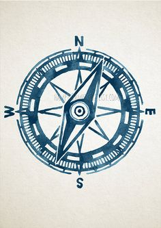 Compass Illustration Nautical Print Blue by HamptyDamptyArt