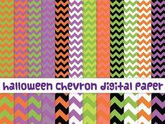 Halloween chevron digital paper commercial use