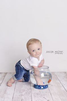 boy with fishbowl, baby in studio with goldfish, boy in studio with fish, first birthday theme