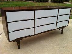 Mid Century Modern 9 drawer dresser by Stanley   VINTAGE TRANSFORMED