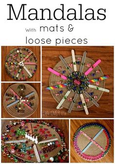 Mandalas for Teaching Symmetry: Use any loose pieces you have on hand for a unique and colorful creating experience!