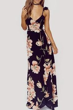 This Floral Print Maxi Dress is perfect for summer and fall! Material: Polyester Please allow 2-3 weeks for shipping and handling.