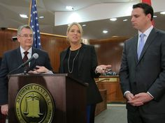 Attorney General Pam Bondi speaks at a news conference Thursday with Senate President Don Gaetz, left,  and House Speaker Will Weatherford about the mortgage settlement money. Photo by Bill Cotterell.
