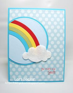 Inking Aloud: Sweet Sunday Sketch Challenge 178-You Make Me Smile ... die cut circle, rainbow & cloud ... like the bit of fluffiness from the felt in the cloud ...