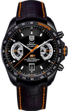 Tag Heuer Grand Carrera Black Dial Leather Automatic Chronograph Mens Watch CAV518K.FC6268