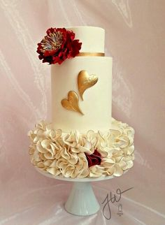 by Jeanne Winslow Cake Design Heart Wedding Cakes, Beautiful Wedding Cakes, Gorgeous Cakes, Pretty Cakes, Cute Cakes, Fondant Cakes, Cupcake Cakes, Cupcake Ideas, Heart Cakes