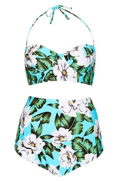 Topshop 'Aloha' Print Longline Swimsuit available at #Nordstrom
