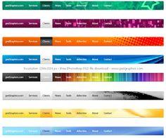 8 Creative and colorful web UI navigation menus set in psd. Menu Design, Site Design, Menu Template, Templates, Webpage Layout, Conference Planning, Website Menu, Navigation Bar, Modern Website