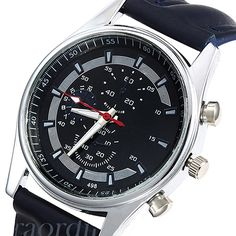 2016 New Arrival Men's Cool Black Dial Faux Leather Band Quartz Analog Office Casual Wrist Watch #Affiliate
