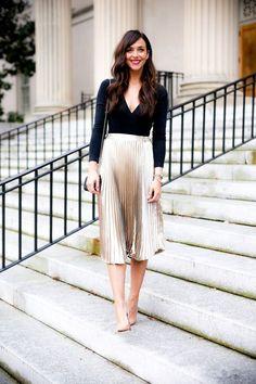 Metallic pleated skirt + black v-neck bodysuit + tan pointed toe heels