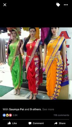 style of nauvari saree maharashtrian traditional saree dreaping called bramhani nauvari pattern Saree Wearing Styles, Saree Styles, Sari, Saree Dress, Indian Bridal Outfits, Indian Dresses, Look Fashion, Indian Fashion, Saree Fashion
