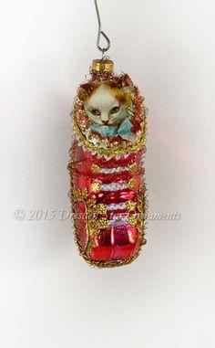 Kitten inside Red Antique Glass Baby by DresdenStarOrnaments
