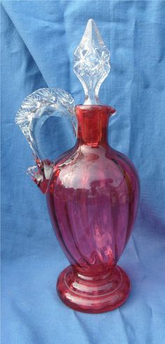 Super Old Cranberry Glass Decanter Ribbed Effect NR
