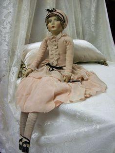 Details about Vtg Art Deco 27 inch Flapper Boudoir Doll Boudoir, Antique Dolls, Vintage Dolls, Vintage Pink, Vintage Art, Doll Head, Doll Face, Half Dolls, Dolls Dolls