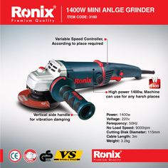 MINI ANGLE GRINDER 1400W – 3160 http://www.ronixtools.com/pr…/mini-angle-grinder-1400w-3160/ High Power, Machine Can Use for Any Harsh Place  Like Us : http://www.facebook.com/ronixtools Power Tools | Power Tools Accessories | Hand Tools | Air Tools | Cutting Tools | Wood Working Tools | Measuring Tools | Safety Tools | Accessories Visit our Web Site : www.ronixtools.com Contact Us : info@ronixtools.com