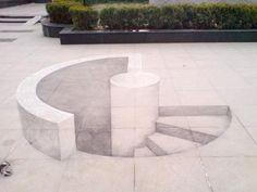 Minimalista 3D chalk drawing.