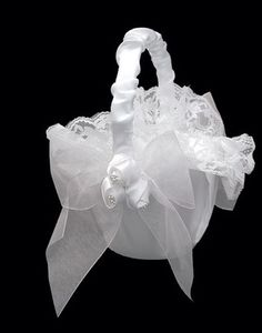 Flower Girl Basket 0062 (White or Ivory)