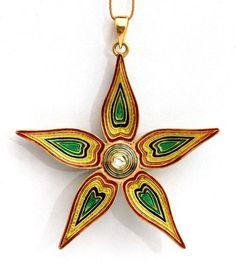 Reversible Star 22K Gold Pendant with Artistic Kundan Meena Work Diamond