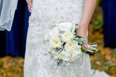 White and grey bridal bouquet. Patience roses. Carley Rehberg Photography