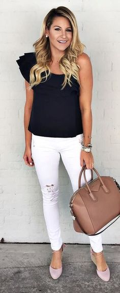cool summer outfit black one shoulder top + rips + bag