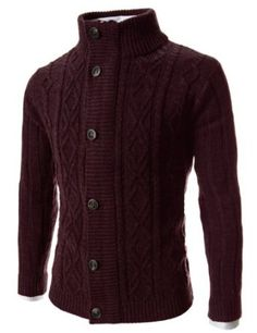 I love this color...TheLees Slim Fit Zipper 6 Button Knitted Cardigan