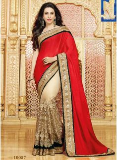 Karishma Kapoor Cream And Red Zari Work Embroidery Work Half N Half Saree. Shopping Bollywood Replica Saree In Netherland.  http://www.angelnx.com/