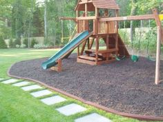 Rubber playground mulch, colored rubber mulch, recycled rubber tires used to make rubber mulch and playground safety surfacing in the state of Texas. Rubber Mulch Playground Surfacing for your piece of mulch Playground Rubber Mulch, Backyard Playground, Backyard Fort, Playground Ideas, Backyard Playset, Backyard Landscaping, Landscaping Ideas, Backyard Ideas, Outdoor Ideas
