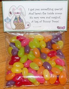 Bunny poop printable-fill with jelly beans or milk duds lol!