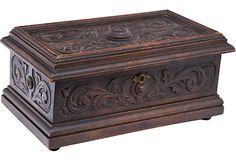 Carved Wood Box on OneKingsLane.com Antique Wooden Boxes, Wood Boxes, Vintage Wood, Woodworking Box, Wood Carving Art, Metal Shop, Iron Decor, Home Design Decor, Casket