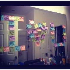 I love you on post it notes. Each note has different love note.