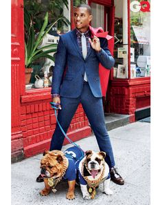 Forget the suit look at the dogs!