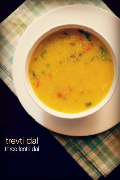 gujarati trevti dal recipe - a tangy and mildly spiced dal made with three types of lentils. #vegan #dals #lentils #gujarati