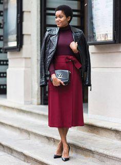 tamu mcpherson burgundy skirt black leather jacket street style