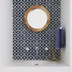 navy patterned tile, round oak mirror