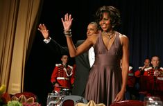 Michelle Obama showed her style prowess in a mauve Halston gown for the White House Correspondents' Dinner.
