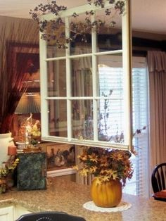 Use An Old Window As A Room Divider... LOVE LOVE LOVE