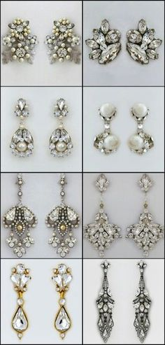 Bridal Earrings. Studs, drops, chandeliers or dangles.  What style looks best on you?  Learn about earrings for your face shape & more earring tips on our blog:  https://perfectdetails.com/blog/bridal-earrings-more-tips-advise-from-rachel-howard/
