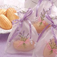 Madeleine favors in a lavender accented bag Bridal Shower Favors, Bridal Showers, Wedding Favors, Party Favors, Wedding Ideas, Farm Wedding, Bridesmaid Luncheon, Perfume, Organza Bags