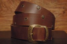 Rivets Eyelet Leather Belt  Size  Belt Buckle by CUERO925LEATHER, €25.00