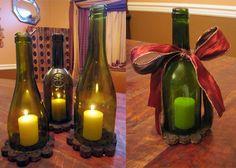 Wine & Cork: {DIY} Wine Bottle Lantern & Cork Base