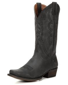 Up the ante in the Men's Black Jack Square Toe Cowboy Boot. This style is cut from deep black oak leather and stitched with classic black-on-black thread. It's loaded with comfort. A cushioned insole ensures long-lasting comfort, and genuine leather lining keeps you cool. If you're looking for a comfortable and sleek black cowboy boot, you've found it in the Black Jack Square Toe Cowboy Boot.<div><br></div><div>American Rebel Cowboy Boots stand for getting wild, renegade music and forging…