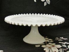 Fenton Milk Glass Pedestal Cake Plate Stand