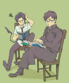 Blue Exorcist ~~ Rin struggles with classwork while Yukio simply enjoys a book.
